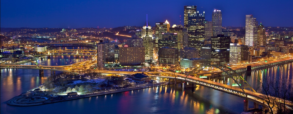 Image of: city of Pittsburgh at night from the Lemont on Mt. Washington.